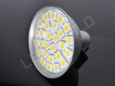 Ampoule LED MR16 - 27 leds - Dimmable - Blanc chaud