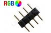 Double raccord 4 pins noir pour ruban led RGB