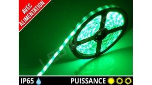 Pack Ruban LED 3528 avec alimentation - Etanche IP65 - 12v - Vert