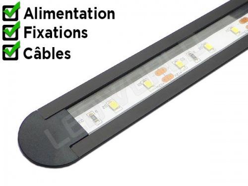 Réglette LED encastrable plan de travail cuisine ikea 247 - Noir