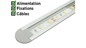 Réglette LED encastrable - 24x7mm - Aluminium + Alimentation 12V