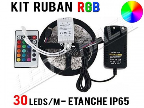Kit Ruban LED RGB - 30 leds/m - 12v - étanche