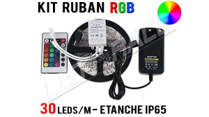 Kit Ruban LED RGB - 30 leds/m - 12v - étanche
