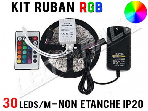 Kit Ruban LED RGB - 30 leds/m - 12v - non étanche