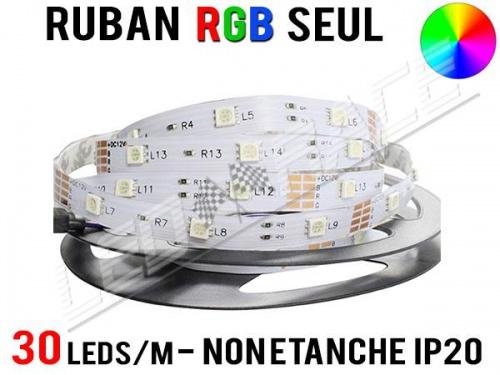 Ruban LED RGB - 30 leds/m - 12v - non étanche