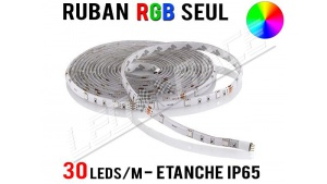Ruban LED RGB - 30 leds/m - 12v - étanche