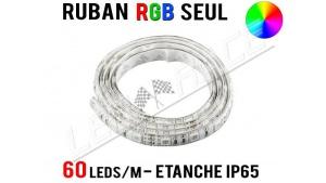 Ruban LED RGB - 60 leds/m - 12v - étanche