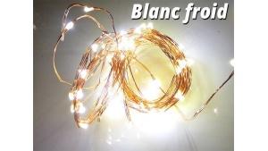 Guirlande LED en cuivre Blanc Froid 5 mètres 50 lucioles avec alimentation
