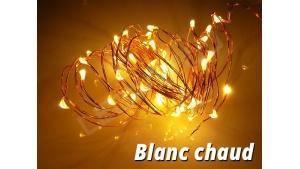 Guirlande LED en cuivre Blanc Chaud 5 mètres 50 lucioles avec alimentation