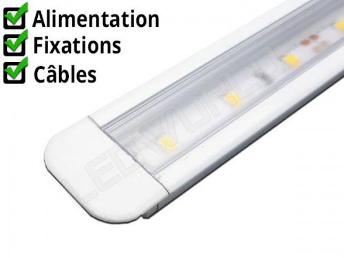 Réglette LED encastrable - 21x9mm - Blanche + Alimentation 12V