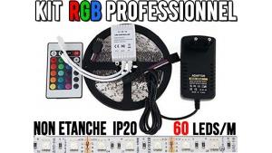 Kit Ruban LED RGB - 60 leds/m - 12v - non étanche