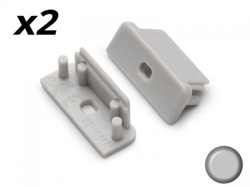 Bouchon Embout de terminaison pour profilé aluminium - gris