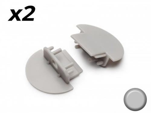 Bouchon Embout de terminaison pour profilé aluminium encastrable - gris