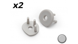 Bouchon Embout de terminaison pour profilé aluminium orientable R13 - Gris