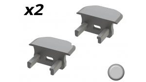 Bouchon Embout de terminaison pour profilé aluminium encastrable 219 - Gris