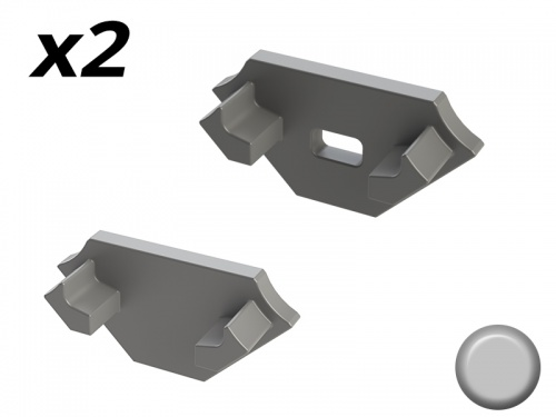Bouchon Embout de terminaison pour profilé aluminium 45° 1616 Gris