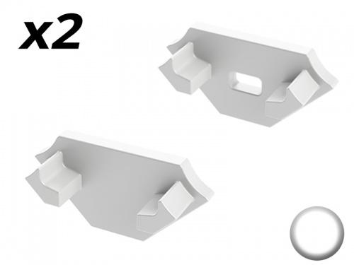 Bouchon Embout de terminaison pour profilé aluminium 45° 1616 - blanc