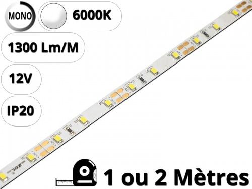 Ruban Bande led pour profilé aluminium-Blanc Pur 6000K-12V