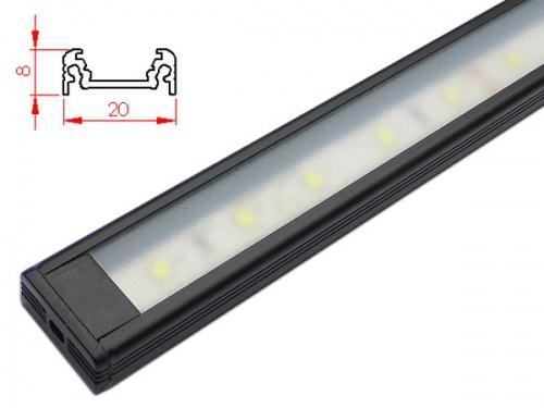 Réglette LED plan de travail cuisine - plate 208 - Noire