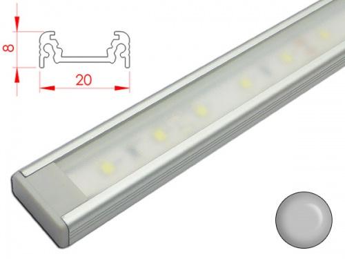 Réglette profilé LED plan de travail cuisine - plate 208 - Aluminium
