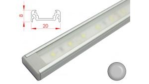 Réglette LED plate - 20x8mm - Couleur Alu + Alimentation 12V