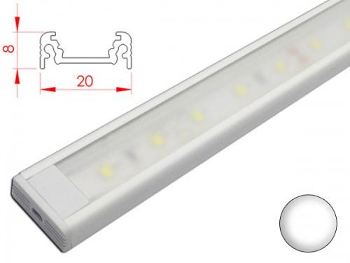 Réglette profilé LED plan de travail cuisine - plate 208 - AluminiumLED plate - 20x8mm - Blanche + Alimentation 12V