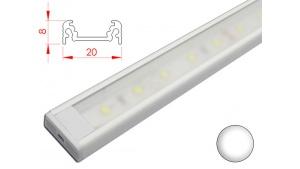Réglette LED plate - 20x8mm - Couleur Blanche + Alimentation 12V