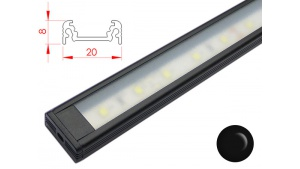 Réglette LED plate - 20x8mm - Couleur Noire + Alimentation 12V