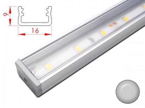 Réglette LED plan de travail cuisine - plate 208 - Aluminium