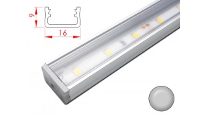 Réglette LED plate - 16x9mm - Couleur Alu + Alimentation 12V