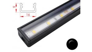 Réglette LED plate - 16x9mm - Couleur Noire + Alimentation 12V
