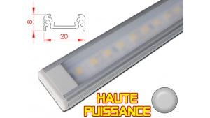 Réglette LED plate Haute Puissance- 20x8mm - Couleur Alu + Alimentation 12V