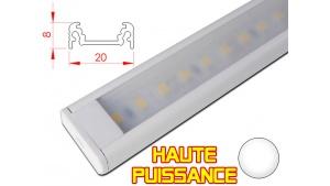 Réglette LED plate Haute Puissance- 20x8mm - Couleur blanche + Alimentation 12V