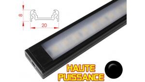 Réglette LED plate Haute Puissance- 20x8mm - Couleur Noire + Alimentation 12V