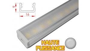 Réglette LED plate Haute Puissance - 16x9mm - Couleur Alu + Alimentation 12V