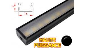Réglette LED plate Haute Puissance - 16x9mm - Noire + Alimentation 12V
