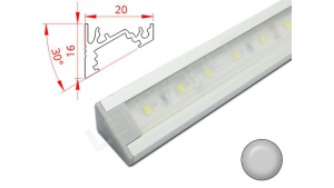 Réglette LED Inclinée 30° - 20x16mm - Aluminium + Alimentation 12V