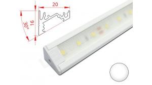 Réglette LED Inclinée 30° - 20x16mm - Blanche + Alimentation 12V