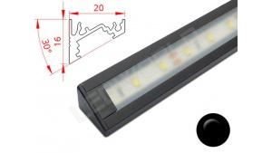 Réglette LED Inclinée 30° - 20x16mm - Noire + Alimentation 12V