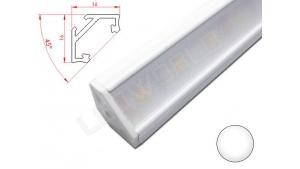 Réglette LED Inclinée 45° - 16x16mm - Blanche + Alimentation 12V