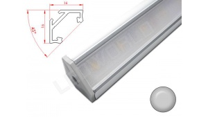 Réglette LED Inclinée 45° - 16x16mm - Aluminium + Alimentation 12V