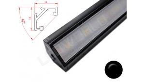 Réglette LED Inclinée 45° - 16x16mm - Noire + Alimentation 12V