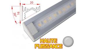 Réglette LED Inclinée 30° Haute Puissance - 20x16mm - Aluminium + Alimentation 12V