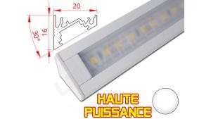 Réglette LED Inclinée 30° Haute Puissance - 20x16mm - Blanche + Alimentation 12V
