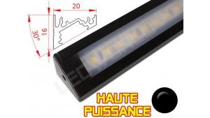 Réglette LED Inclinée 30° Haute Puissance - 20x16mm - Noire + Alimentation 12V