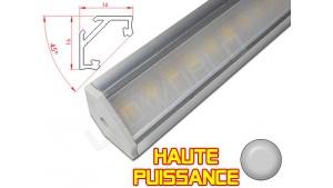Réglette LED Inclinée 45° Haute Puissance - 16x16mm - Aluminium + Alimentation 12V