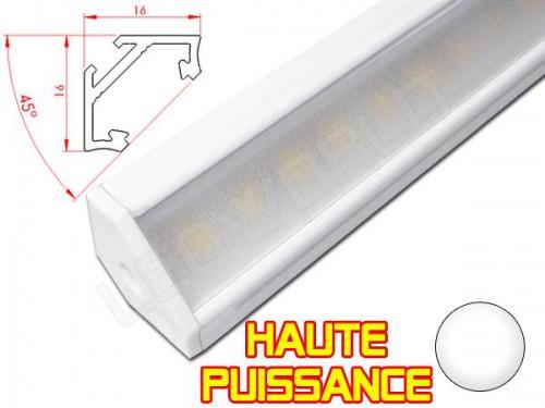 Réglette LED Inclinée 45° Haute Puissance - 16x16mm - Blanche + Alimentation 12V