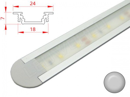 Reglette Led Encastrable Profile Aluminium 24x7mm Couleur Aluminium
