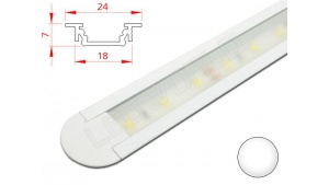 Réglette LED Encastrable - 24x7mm - Blanche + Alimentation 12V