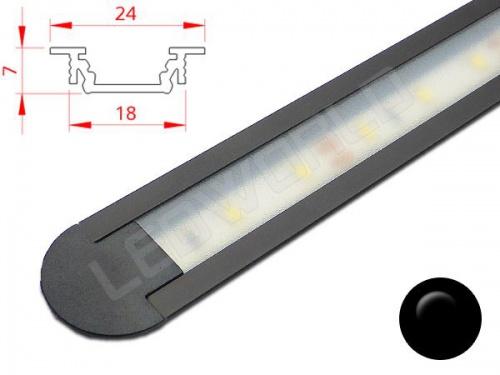 Réglette LED Encastrable - 24x7mm - Noire + Alimentation 12V
